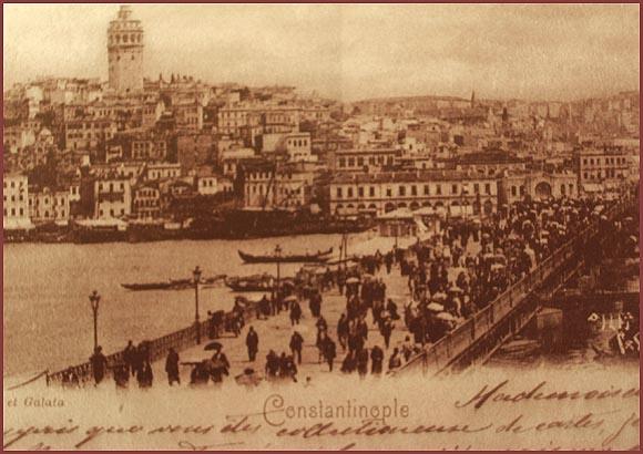 19世紀のガラタ塔とガラタ橋